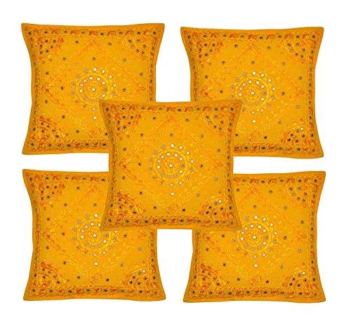 Rajasthali Indischen ethnischen Handgefertigtes Kissen mit Stickerei & Spiegel Arbeit 5 Stück, 43 X 43 Cm Cm gelb - Ethnischen Spiegel