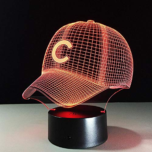 3D Hip Hop Baseball Team Kappe LED 3D Illusion Nachtlicht 7 Farben USB American Baseball Hat Decor Birne Visuelle Lampe