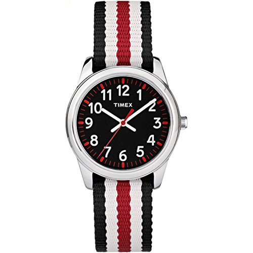 Timex Boys TW7C10200 Time Machines Metal Black/Red Stripes Nylon Strap Watch