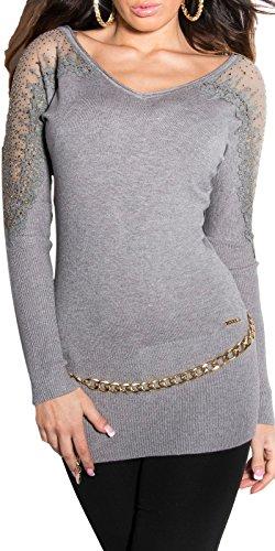 IL BAZAR Top à Manches Longues - Femme Taille Unique Gris
