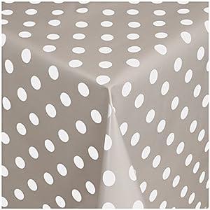 TEXMAXX Wachstuchtischdecke Wachstischdecke Wachstuch Tischdecke abwaschbar (150-07) - 100 x 140 cm - PVC Tischdecke abwischbar, Punkte Muster in Taupe-Weiss