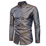 Dihope Herren Glänzendes Hemd Mode Slim Fit Hemden Glitzer Langarmshirts Nightclub Hemd