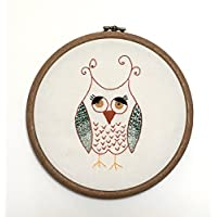 Wise Owl - Unique Hand Embroidered Wall Art - Framed in a Hoop and Ready to Ship