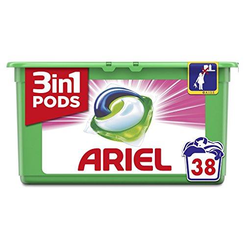Ariel 3en1 Pods Detergente En Cápsulas, Sensaciones, Limpieza Increíble, Limpia, Quita Manchas, Ilumina- 38Lavados
