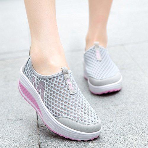 Damen Freizeitschuhe Mode Sport Gehen Sneaker Grau