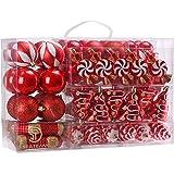 Sea Team 73 Weihnachtskugeln Box Christbaumschmuck aus Kunststoff Glanzend, Rot