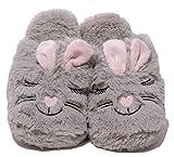 Zapato Damen Plüschhausschuhe Plüsch Puschen Schuhe Slipper lustige Tierhausschuhe Hase Bunny Gr. 37 - 41 grau rosa (40 EU)