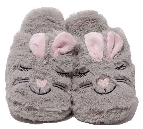 Zapato Damen Plüschhausschuhe Plüsch Puschen Schuhe Slipper lustige Tierhausschuhe Hase Bunny Gr. 37 - 41 grau rosa (41 EU)