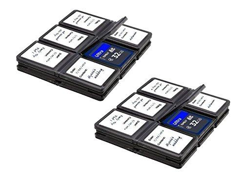 Power^UP Memory Card Custodia universale - Adatta per SDHC e SD Scheda di memoria Memory Card - 2 Supporti e 12 Slots Carrying Storage Case