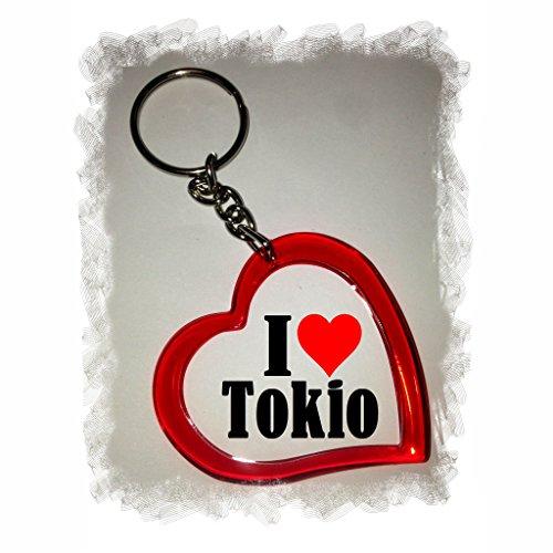 Druckerlebnis24 Herzschlüsselanhänger I Love Tokio, eine tolle Geschenkidee die von Herzen kommt| Geschenktipp: Weihnachten Jahrestag Geburtstag Lieblingsmensch