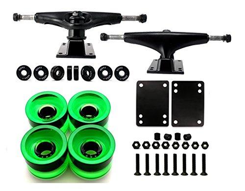 Vj skateshop Skateboard-LKW und Rad, 5,0 Skateboard-Achsen (schwarz) mit Skateboard-Rad, 60 mm, Skateboard-Kugellager, Skateboard-Schrauben, Skateboard-Rider-Polster, Black Truck w/Gel Green Wheel (Longboard Räder-lkw)