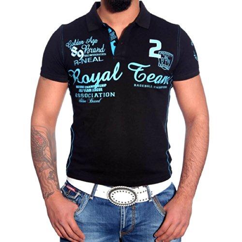 R-NEAL Poloshirt Herren Polohemd Polo Shirt Kurzarm Hemd T-shirt RTN-16687 Shirt Schwarz