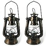2 Lanterne LED da Giardino, Campeggio, Interno - Lanterne Dimmerabili Decorative Bronzo, Design Lampada Olio di PK Green