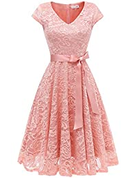 Berylove Damen V-Ausschnitt Kurz Brautjungfer Kleid Cocktail Party Floral Kleid BLP7006BlushM