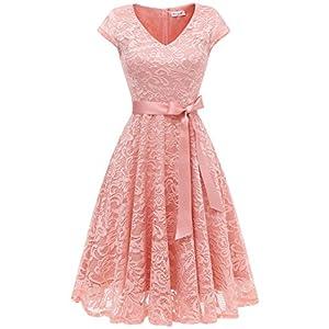 Berylove Damen V-Ausschnitt Kurz Brautjungfer Kleid Cocktail Party Floral Kleid