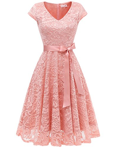 Berylove Damen V-Ausschnitt Kurz Brautjungfer Kleid Cocktail Party Floral Kleid BLP7006BlushL (Rosa Kleid ärmel Ein)