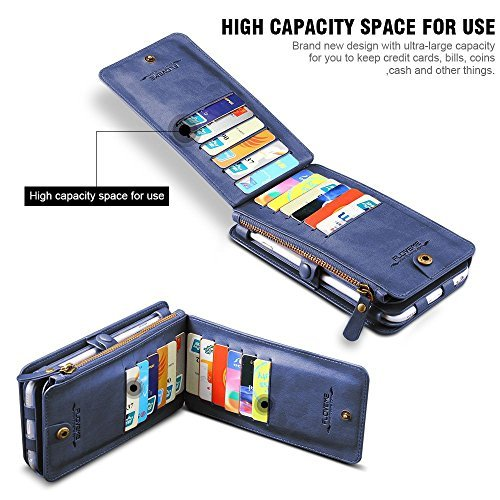 FLOVEME Custodia per iphone 7/6/6s Portafoglio a Libro 2 in 1 in Pelle Multifunzionale Carta Slot Staccabile Case Cover per iphone 6/iphone 6s/iphone 7 4.7 Pollici, Colore Marrone Azzurro