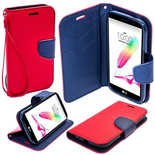 Moozy zweifarbige Fancy Tagebuch Buch Beutel Flip Handy Tasche mit Stand / Handschlaufe / Silikon Handyhalter für LG G4 Stylus, Rot / Blau