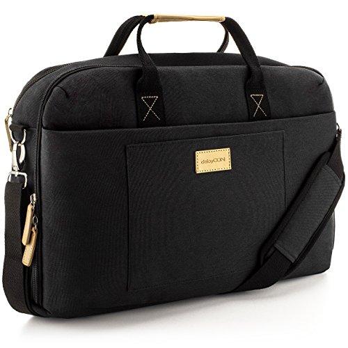 """deleyCON Notebook-Tasche bis 17,3"""" Zoll (43,2cm) Laptop Notebook Netbook MacBook Tragetasche Schultertasche Schutztasche Leinengewebe Schwarz"""