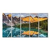 islandburner Bild Bilder auf Leinwand Moraine See ist Ein bekannter Ort in Kanada. Wandbild, Poster, Leinwandbild FWT
