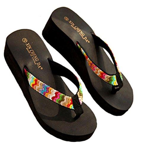 Damen Flip Flops, SHOBDW Damen Sommer-Plattform-Sandelholze Strand-flache Keil-Flecken-Flipflops Dame-Hefterzufuhren (36, Schwarz) (Rote Pumpe Erwachsene Schuhe)