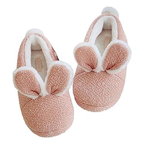 Chaussons Lapin à tridimensionnel à l'oreille Chaussures Chaud Chaussures Femmes Indoor Non glissantes Accueil Mois Chaussures Chaussures Sacs en coton , 38-39 , pink