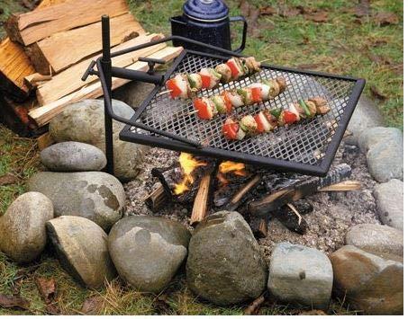 Mustang mobiler Grillrost mit Erdspieß 79cm | Outdoor Grill | Grillfläche 40x40cm | für Feuerschale |