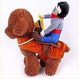 Funnyrunstore Ropa para Perros Ropa para Perros Disfraz de Vaquero de Halloween Ropa novedosa para Perros Traje de Montar a Caballo Mascotas Divertidas Disfraz Fiesta de Disfraces (1#; M)