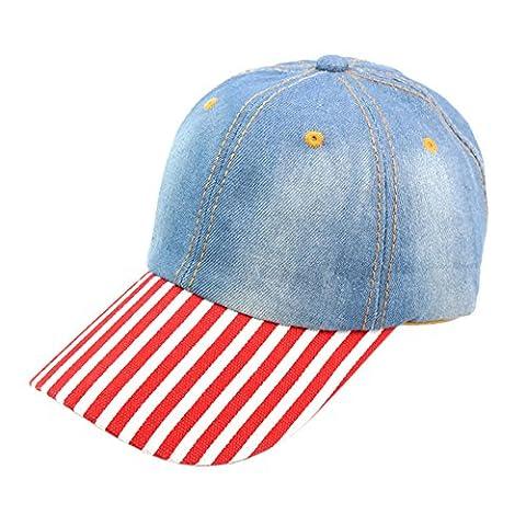 Baseball Kappe Holeider Gestreift Denim Jahrgang Einstellbar Sonnenschutz Hut (Weiß) (Kind Blau-ara-kostüm)
