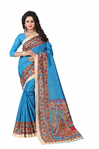 Devani Brothers Printed Art Saree (XwXw-01) (Sky blue)  available at amazon for Rs.299