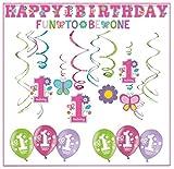 Erster Geburtstag Dekoration Set Süßes Mädchen Happy 1st Birthday 1.Geburtstag Deko Luftballons Girlande Spirale Banner Konfetti