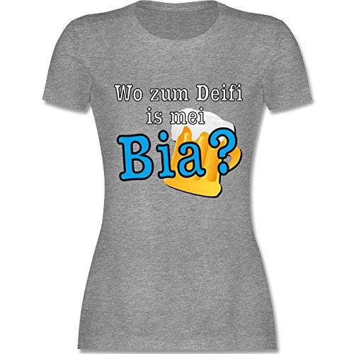 Après Ski - Wo zum Deifi is mei Bia? - tailliertes Premium T-Shirt mit Rundhalsausschnitt für Damen Grau Meliert