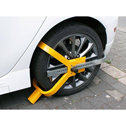 ECD Germany Radkralle aus Stahl für 13-17 Zoll Räder Diebstahlsicherung Parkkralle Reifenkralle Lenkradsperre Wegfahrsperre Radsicherung Radschloss PKW - 17-zoll-rad Stahl