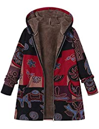 Huateng Mujeres Toamen Vintage Chaqueta Impresión Abrigo Lana Caliente Capucha Botón/Cremallera Cardigan
