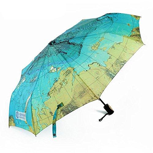 JAYLONG Sombrilla de viaje 8 costillas a prueba de viento Mapa mundial Construcción de acero inoxidable robusta Paraguas plegable de secado rápido a prueba de agua para mujeres, hombres, niños y niños