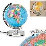 Tischleuchte Globus – beleuchtete Weltkugel aus Metall, Chrom und Kunststoff – Zimmerlampe für Kinderzimmer mit 3-Stufen Touchdimmer – ideal für Schulkinder – Schreibtischlampe Erdkugel
