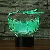 3D Instrumento Musical de Tambor Ilusión Lámpara luz Nocturna 7 Colores Cambiantes Touch USB de Suministro de Energía Juguetes Decoración Regalo de Navidad Cumpleaños
