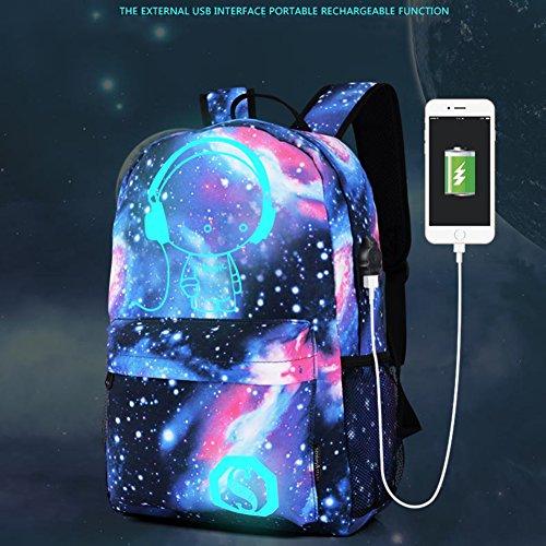 Sevend zaino per PC portatile con USB di ricarica, tuta per scuola e borsa zaino per notebook e bagaglio a mano e valigetta, Black Starry Blue