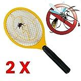 cormes - Elektronische Fliegenklatsche 2 Stück, Fliegenfänger, Mückenklatsche, Insektenvernichter, Mosquito-Schläger, Insektenschläger in Gelb …