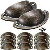 NALCY Vintage deurladegrepen, Cupped handgrepen, ijzeren trekknoppen, kast, retro meubelknoppen, halve cirkel, antieke schelp