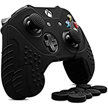CHINFAI pour Xbox One Controller Skin,Coque de protection en silicone antidérapante avec manette Microsoft Controller avec 8 x punaises de poignet en silicone (Noir)