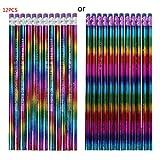 Baiyao 12Pcs Crayons D'arc-en-ciel Avec Des Gommes à Effacer,crayons De Bois Avec Des Caoutchoucs Pour Dessin,Bois HB Crayons Crayons De Dessin De Couleur Vive Pour L'artiste