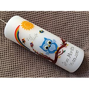 Taufkerze mit Eule - inkl. Beschriftung von Babyprince - handgearbeitete Wachsverzierungen - !!! keine Folie !!!