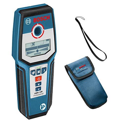 Bosch Professional Digitales Ortungsgerät GMS 120 (1x 9V Batterie, max. Ortungstiefe Stahl/Kupfer/stromführende Leitungen: 120/80/50 mm, in Schutztasche)