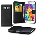 DN-TECHNOLOGY  Samsung Galaxy J3 Case (Galaxy J3 2016 Model) High Quality Leather Book Case with Screen Protector For Galaxy J3 2016 (Not Compatible With Galaxy J3 2017 Model) - BLACK