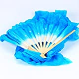 Vzer 1.8M Hand Made Belly Dance Dancing Silk Bamboo Long Fans for Party Stage Performance - Blue
