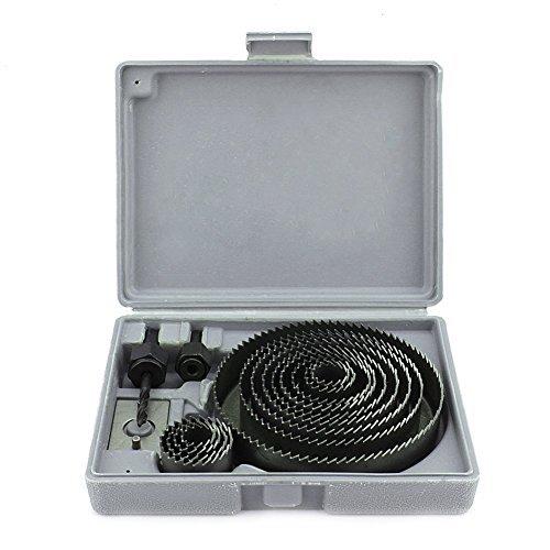 Yosoo 16 Agujero sierra de acero Taladro Kit círculo del metal del cortador redondo de madera Bits aleación Focos 19-127mm con el caso