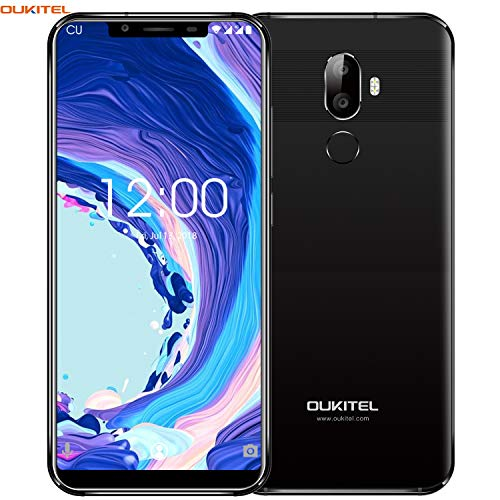 "OUKITEL U18 4G LTE Smartphone Libre,5.85\"" 21:9 HD+ Pantalla, Cámara de 16MP+5MP+13MP,Octa-Core 4GB RAM+64GB ROM,Android 7.0 Dual SIM Teléfono móvil,Batería de 4000mAh,Face ID,GPS (Negro)"