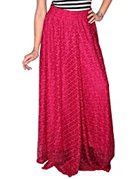Carrel Net Printed Women Long Skirt(AGSPL-3715W)