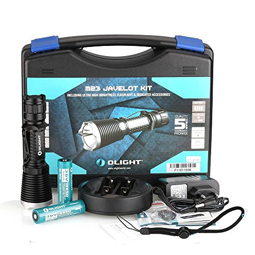 Olight® M23 Javelot Kit Cree XP-L LED 1020 Lumen taktische LED-Taschenlampe mit Omni Dok Ladegerät und 2 X wiederaufladbar 18650 Batterien, Schwarz